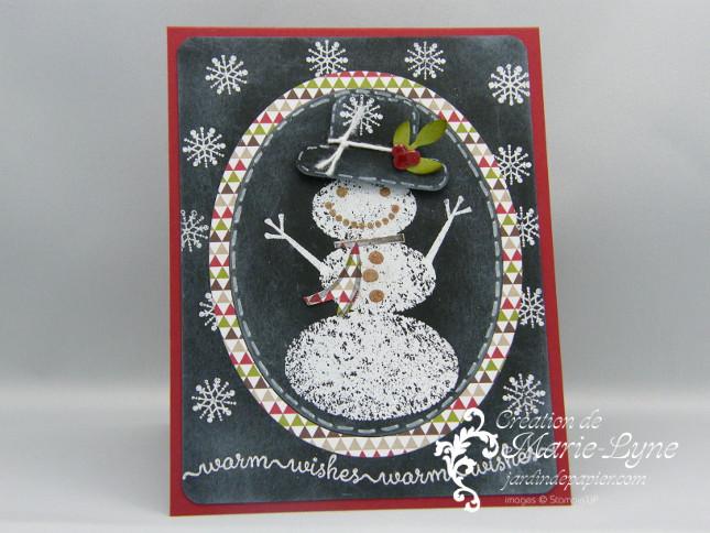 Création carte de Noël, Stampin'UP!, Snow day, carte de Noël, technique tableau noir